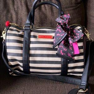 Betsey Johnson stripe satchel